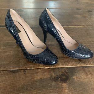 Patent brogue stitching heels NAVY GUC